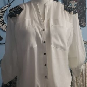 Bebe White Blouse sz XS, Thrifted